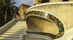 Stock Video Footage of Spain Catalonia Barcelona Park Parc Guell mosaic ceramic bench