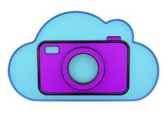 Cloud and camera 3d icons Stock Illustration