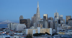 Ultra HD 4K Dusk Twilight Light Cityscape San Francisco Headquarter Office Tower - stock footage