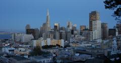 Ultra HD 4K UHD Twilight San Francisco Skyline American Travel Destination Stock Footage