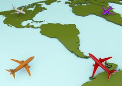 Stock Illustration of map and planes