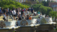 Stock Video Footage of Spain Catalonia Barcelona Park Parc Guell broken ceramic garden seat