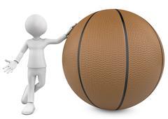 3d basketball, player and ball - stock illustration