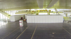 Empty pavilion of exposition center, moving camera Stock Footage