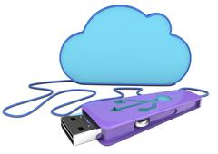 3d pen drive and cloud Stock Illustration