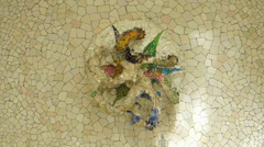 Stock Video Footage of Spain Catalonia Barcelona Park Parc Guell ceiling artistic decoration