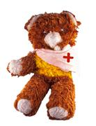 broken armed teddy bear - stock photo