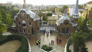 Stock Video Footage of Spain Catalonia Barcelona Park Parc Guell entrance