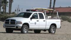 California State Park Lifeguard Truck Drives Beach Patrol Outdoors Sand Rescue  Stock Footage