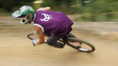 Two riders on cycle race, spinning wheels contest, corners track, click for HD Stock Footage