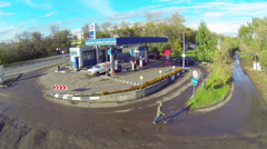 Two cars refueling at TNK gas station in Moscow Stock Footage