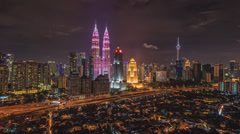 Kuala Lumpur Night Timelapse: Breast Cancer Awareness Campaign Stock Footage