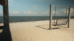 View of beach from within gazebo (3 of 4) Stock Footage