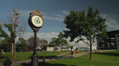 Village of Greenport sign & carousel (2 of 2) Stock Footage