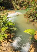 kuang si waterfalls at laos. - stock photo