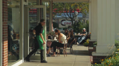 Outside a coffee shop (1 of 2) Stock Footage