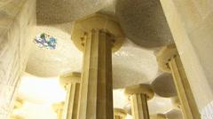 Stock Video Footage of Tilt Spain Catalonia Barcelona Park Parc Guell ceiling artistic decoration