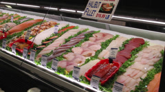 Fresh food displays in a market (1 of 6) Stock Footage