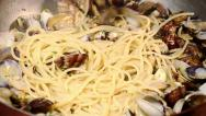 Stock Video Footage of cooking spaghetti with clams
