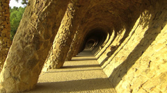 Stock Video Footage of Spain Catalonia Barcelona Park Parc Guell walkway