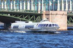 meteor - hydrofoil boat in st. petersburg - stock photo