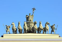 Sculptural group on arch of general staff in st. petersburg Stock Photos