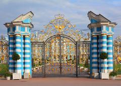 gate of catherine palace in tsarskoye selo - stock photo