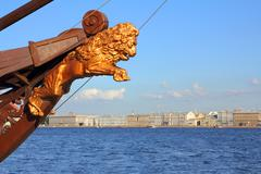 Sculpture of lion on ship in st. petersburg Stock Photos