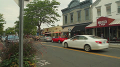 Shops along main street Stock Footage
