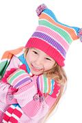 winter: cold little girl shivering - stock photo