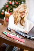 Christmas: sending email instead of christmas cards Stock Photos