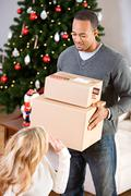 Christmas: ready to ship packages Stock Photos