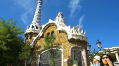 Stock Video Footage of Pan Spain Catalonia Barcelona Antoni Antonio Gaudi Parc Guell Park Guell