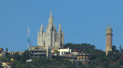 Skyline of Spain Catalonia Barcelona Sacred Heart of Jesus Temple at Tibidabo Stock Footage