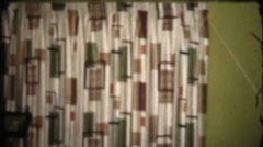 Vintage home movies, stylish curtains and lamp Stock Footage