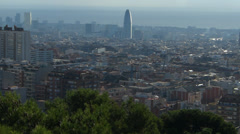 Skyline of Spain Catalonia Barcelona Sagrada Familia cathedral w scaffolds - stock footage