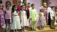 Stock Video Footage of Children on the stage repeat a poem. Kindergarten for 4-5 years old kids
