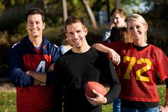 football: group of football friends ready to play - stock photo