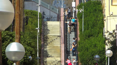 Stock Video Footage of Spain Catalonia Barcelona urban escalator to Parc Guell Park Guell