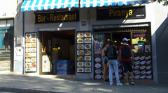 Spain Catalonia Barcelona Bar restaurant snack Stock Footage
