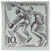 basketball on post stamp - stock photo