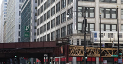 Ultra HD 4K Busy Elevated L Train Passes Downtown Chicago Rush Hour Building Day - stock footage