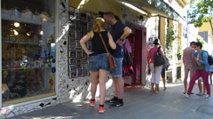 Spain Catalonia Barcelona souvenirs Postcard sale - stock footage