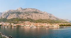panoramic view of makarska - stock photo