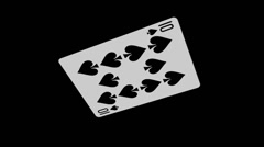 Playing Card - 10 of Spades - Spinning Loop + Alpha Stock Footage