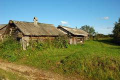 Old log sheds Stock Photos