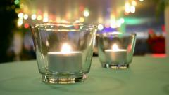 Romantic candle light closeup on the table, romance environment. Stock Footage