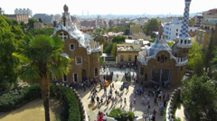 Spain Catalonia Barcelona Antoni Antonio Gaudi Parc Guell Park Guell entrance - stock footage