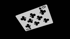 Playing Card - 8 of Clubs - Spinning Loop + Alpha Stock Footage