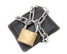 Financial security, locked wallet Stock Photos